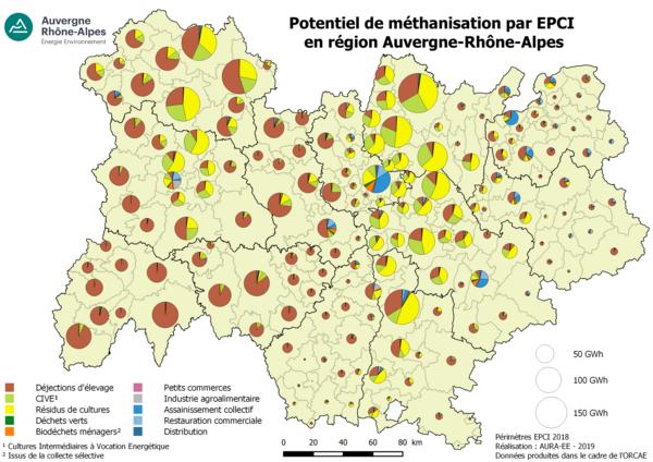 Potentiel de méthanisation par type d'intrants par epci (GWh)