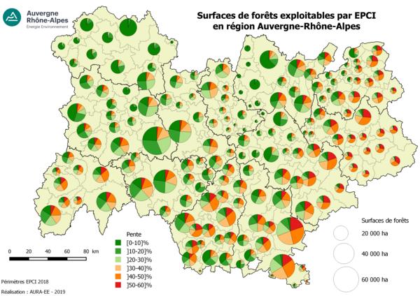 Surfaces de forêts exploitables par epci